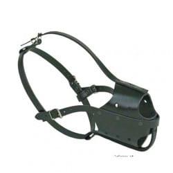 Muselière police en cuir pour chien - noir