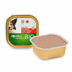 Terrine BIO boeuf ou volaille pour chien Equilibre & Instinct 150 gr