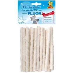 Friandises Mini sticks torsadés au fluor 13 cm par 25