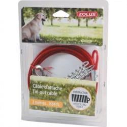 Câble d'attache pour chien avec ressort anti-choc 3m