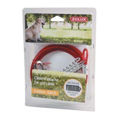 Câble d'attache pour chien avec ressort anti-choc