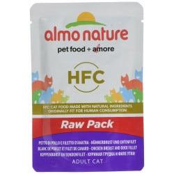Almo Nature Raw avec blanc de poulet et filet de canard pour chat 55gr