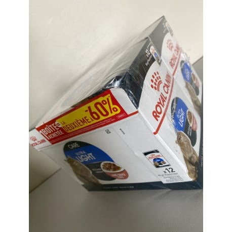 Royal Canin Ultra Light 12X85gr Lot de 2 boîtes dont une à -60%