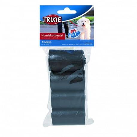 Recharge sacs à crottes de chien 4 rouleaux de 20 sacs - Noir