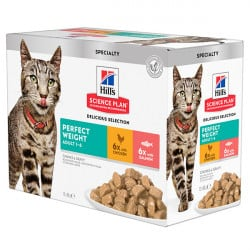Pâtée pour chat Hill's Multipack Perfect Weight poulet et saumon 12 x 85gr