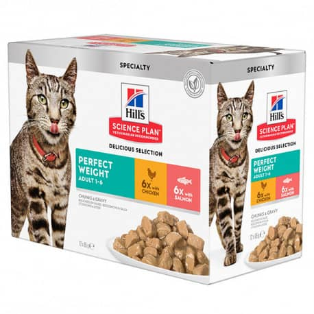 Pâtée pour chat Hill's Multipack perfect weight 12 x 85