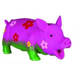 Jouet cochon fleuri en latex rembourré pour chien, jouet couineur 20cm