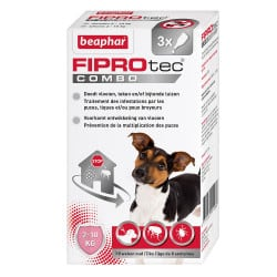 3 Pipettes Antiparasitaires Fiprotec Combo pour chien Chien