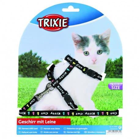 Harnais + laisse pour chaton en nylon motifs Kitty Cat, 21/33cm